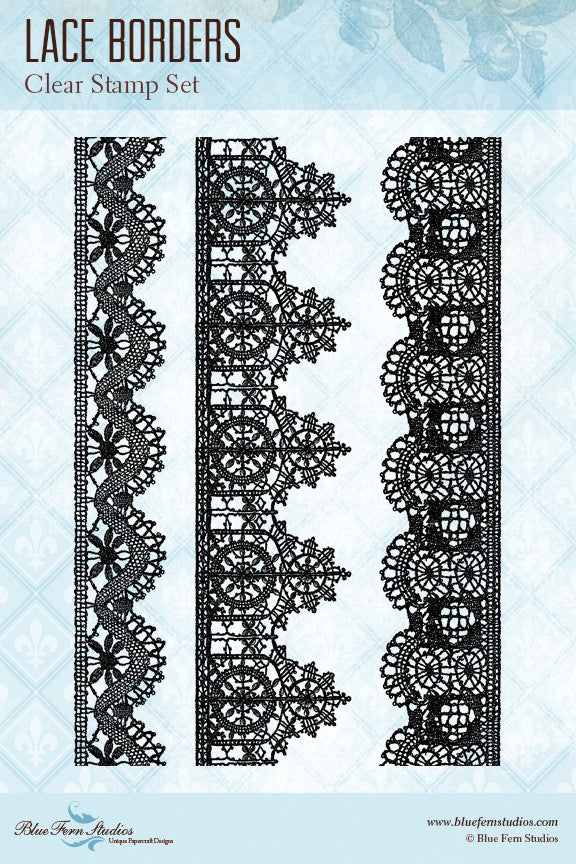 Blue Fern Stamp Set - Lace Borders