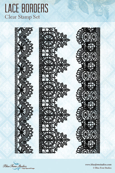 Blue Fern Stamp - Lace Borders