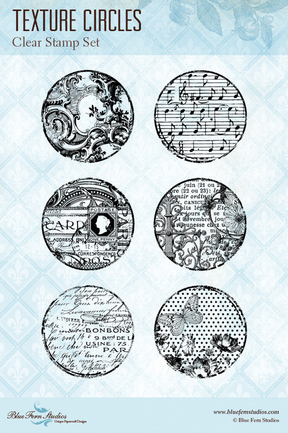 Blue Fern Stamp - Texture Circles Stamp Set