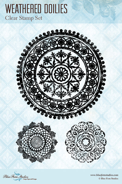 Blue Fern Stamp - Weathered Doily