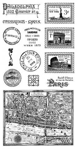 Graphic 45 City Scapes Cling Stamp Set #2