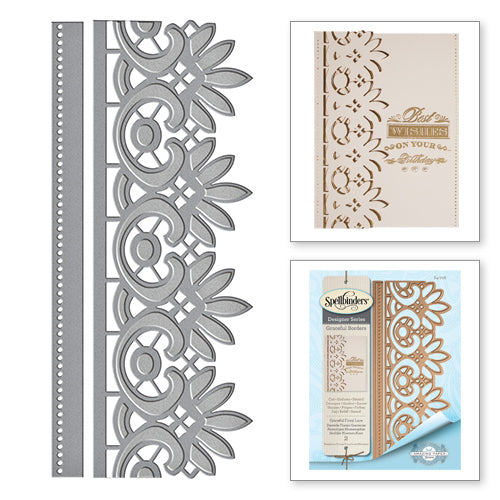 Spellbinders - Graceful Floral Lace - GRACEFUL FLORAL LACE CARD CREATOR AMAZING PAPER GRACE BY BECCA FEEKEN ETCHED DIE