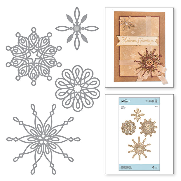 Spellbinders - SHAPEABILITIES YULETIDE SNOWFLAKES ETCHED DIES A CHARMING CHRISTMAS COLLECTION BY BECCA FEEKEN