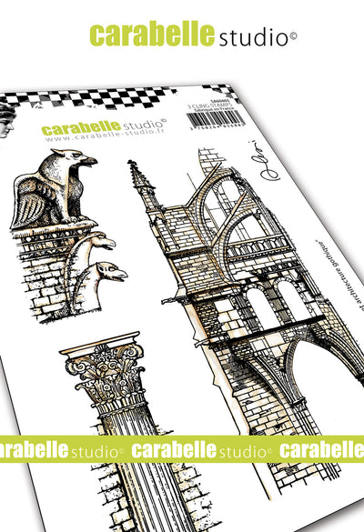 "Carabelle Studio - ""Cling Stamp A6 : ""Gargoyl and Gothic Architecture"" by Alexis - NEW - PRE-ORDER"