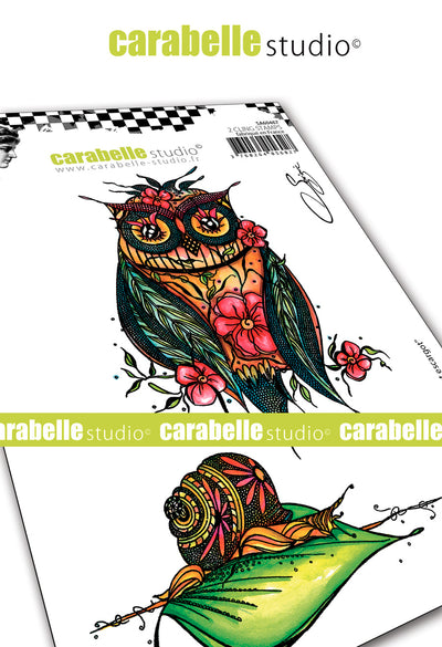 "Carabelle Studio - ""Cling Stamp A6 : ""Owl and Snail"" by Soizic - NEW - PRE-ORDER"