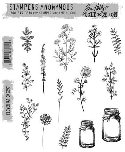 STAMPERS ANONYMOUS - Tim Holtz Cling Stamps - Flower Jar