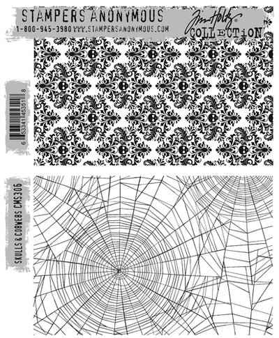 STAMPERS ANONYMOUS - Tim Holtz Cling Stamps - Skulls & Cobwebs