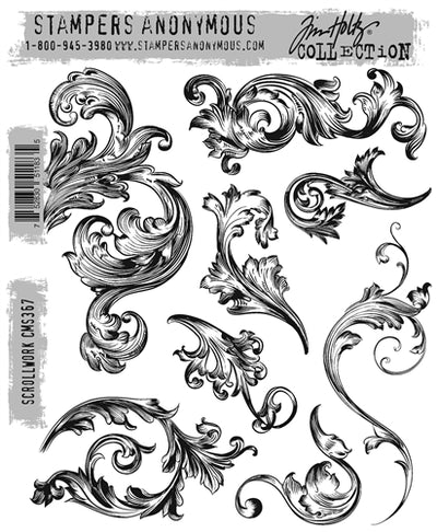 STAMPERS ANONYMOUS - Tim Holtz Cling Stamps - Scrollwork