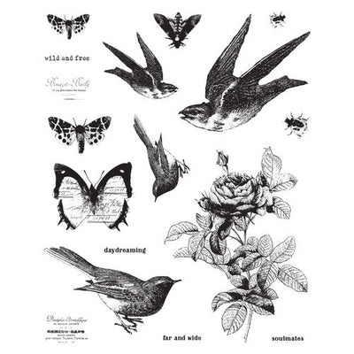 Prima Marketing - Finnabair - Cling Rubber Stamp Set - Wild and Free