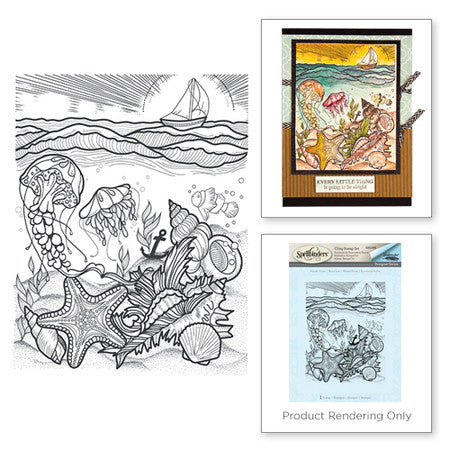 Spellbinders Aquatic Scene Stamp from the Spring Love Collection by Stephanie Low