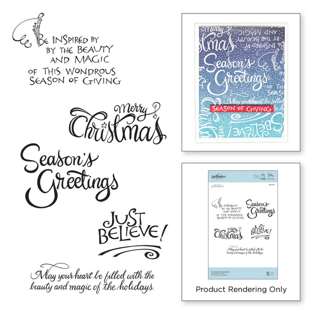 Spellbinders - CHRISTMAS SENTIMENTS STAMPS ZENSPIRED HOLIDAYS BY JOANNE FINK