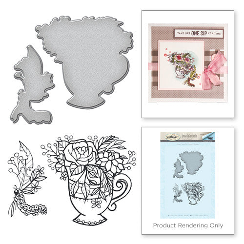 Spellbinders Teacup Stamp and Die Set - Spring Love Collection by Stephanie Low