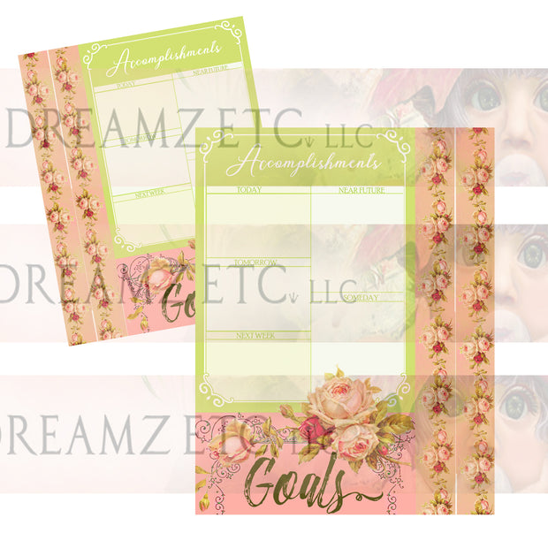 Floral Dreamz Planner/Journal - Accomplishment Sheets & Borders