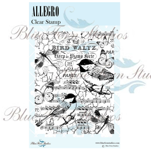 Blue Fern Stamp - Bird Waltz Collection - Allegro