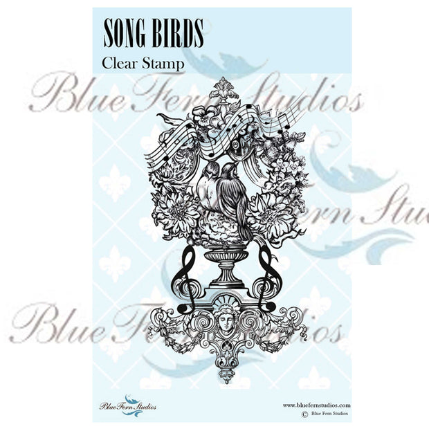 Blue Fern Stamp - Song Birds - Bird Waltz Collection - NEW