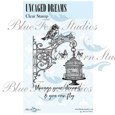 Blue Fern Stamp - Uncaged Dreams - Bird Waltz Collection - NEW