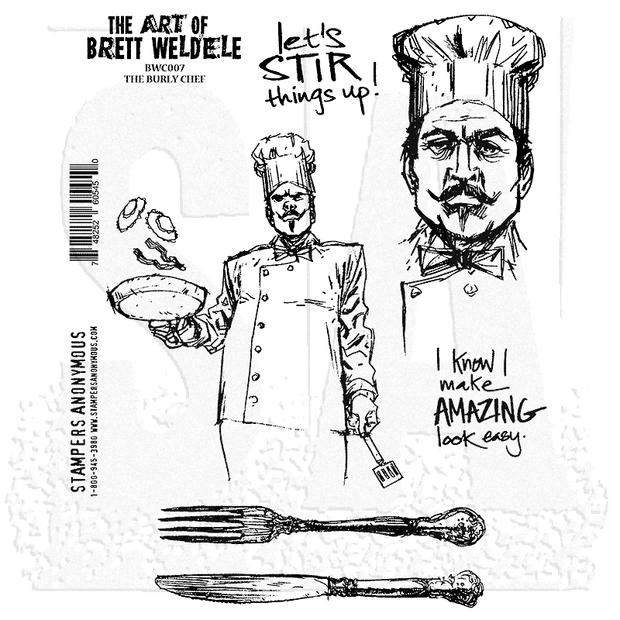 Burly Chef Cling Rubber Stamp Set  - Brett Weldele