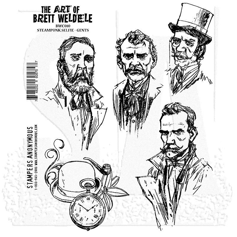 Steampunk Selfie - Gents - Cling Rubber Stamp Set - Brett Weldele