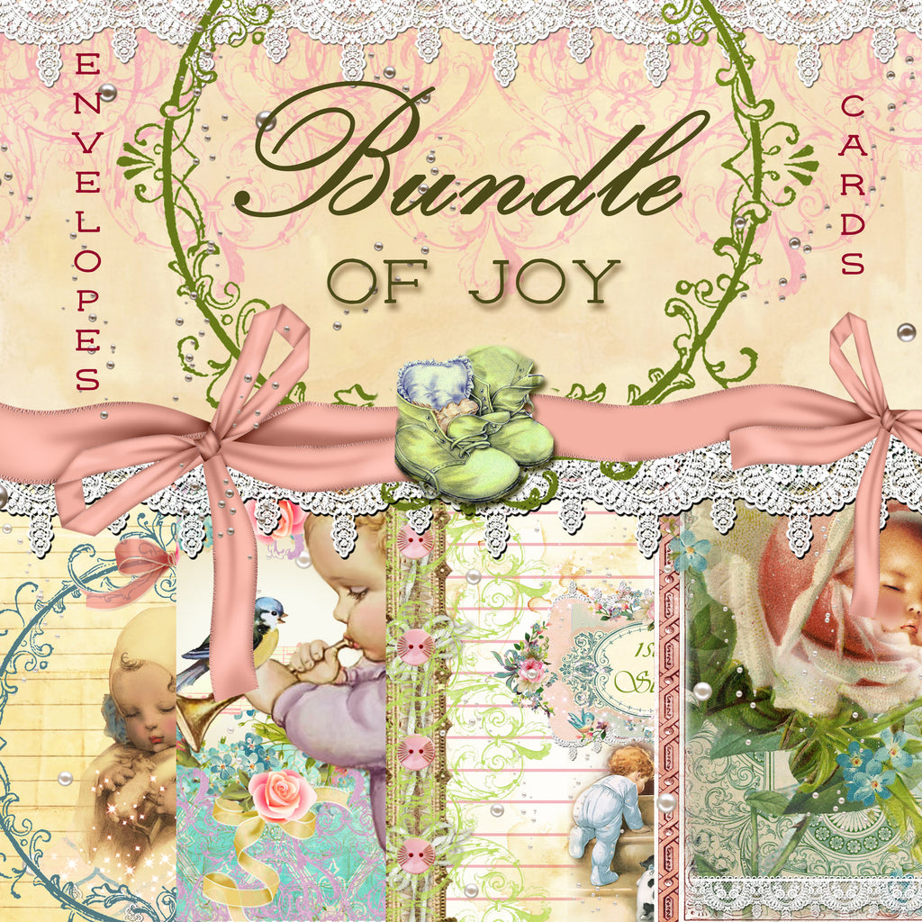 Bundle of Joy Digital Paper Collection - Digital Envelopes & Journal Cards