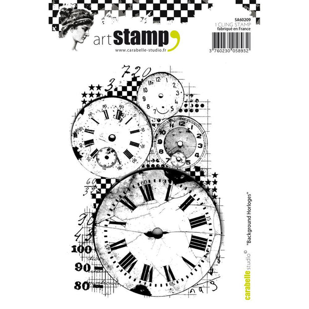 "Carabelle Studio Cling Stamp A6 - ""Clocks Background"""