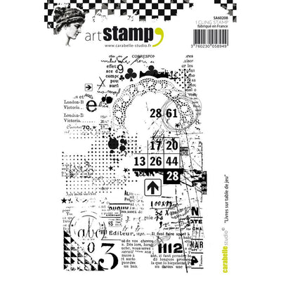 "Carabelle Studio Cling Stamp A6 - ""Books on Gaming Table"""