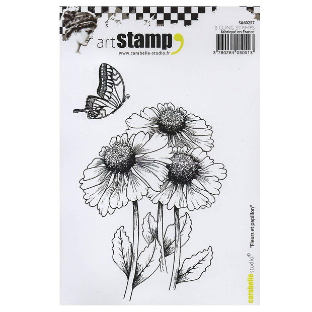 "Carabelle Studio - ""Cling Stamp A6 - Flowers and Butterflies"""