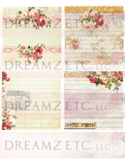 Cottage Rose Digital Paper Collection - Envelopes & Journal Cards