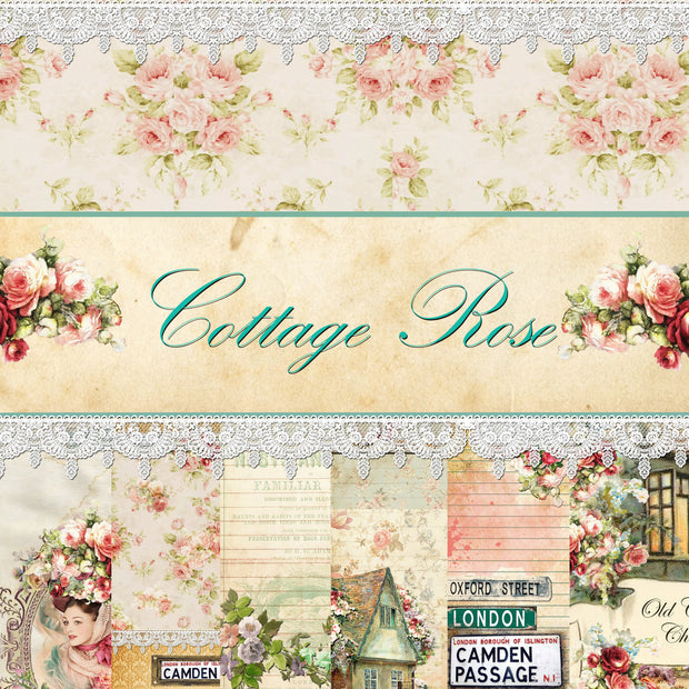 Cottage Rose Digital Collection - Entire Collection - 10 Papers/Designs, 4 Envelopes w/cards, 12 Tags, and Ephemera Sheet