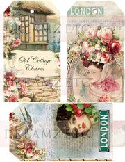 Cottage Rose Digital Paper Collection - Tags & Ephemera