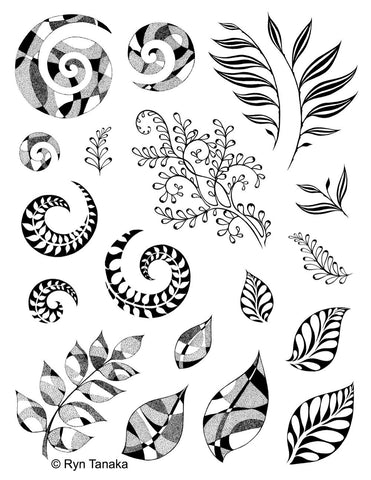 Designs by Ryn Stamp Set -Spirals & Leaves
