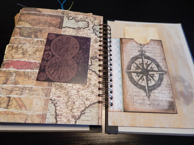 Hand-Stitched Canvas Journal - Vintage Nautical/Travel Theme - LARGE