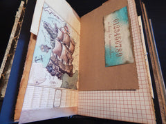 Hand-Stitched Canvas & Leather Journal - Vintage Nautical/Travel Theme - LARGE
