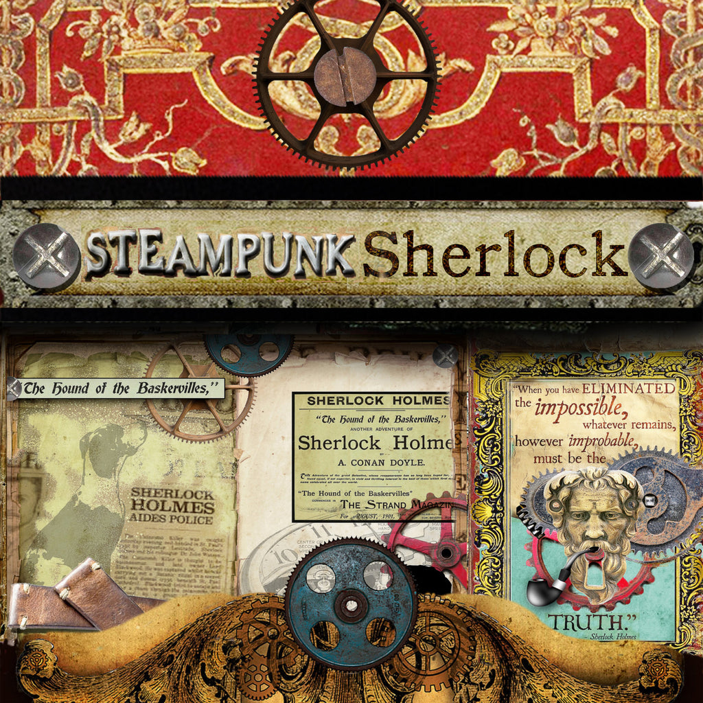 Steampunk Sherlock Digital Paper Pack #1