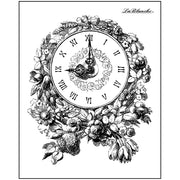 "Lablanche Silicone Stamp - Floral Clock Stamp -  3""X4"""