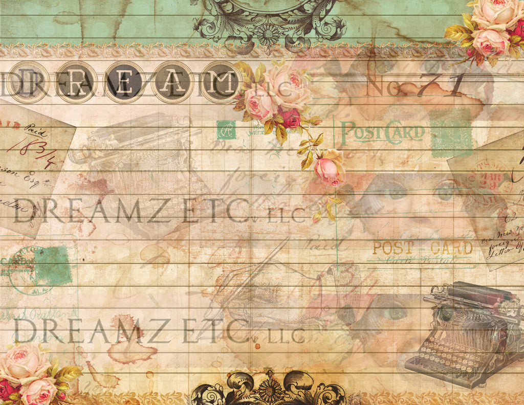 vintage lined journal paper pack - digital - 10 designs – dreamz etc