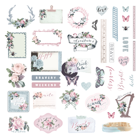 Prima Poetic Rose Ephemera & Stickers