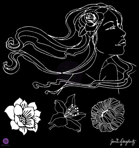 "Prima Bloom Stencil 12""x12"" - Bloom Collection - Gardenia - Jamie Dougherty"