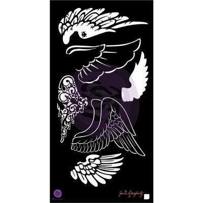 "Prima Bloom Stencil 6""x12"" - Bloom Collection - Wings - Jamie Dougherty"