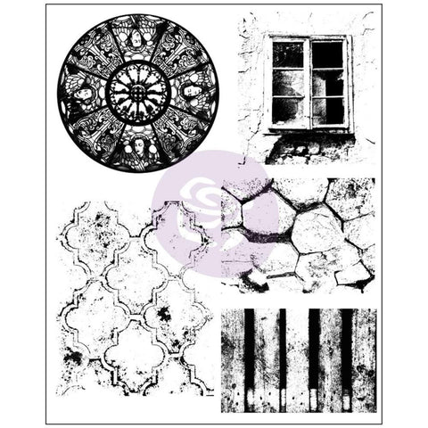 Prima Marketing - Finnabair - Cling Rubber Stamp Set - Old Town