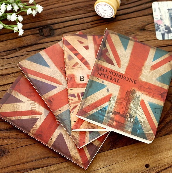 New Vintage National flag design Kraft paper notebook journal Diary Notepad Memo pads Wholesale
