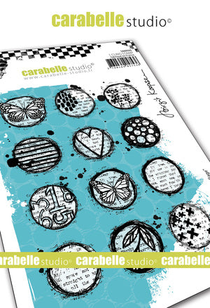 "NEW! Carabelle Studio - ""Cling Stamp A6 : Circles Collage by Birgit Koopsen"