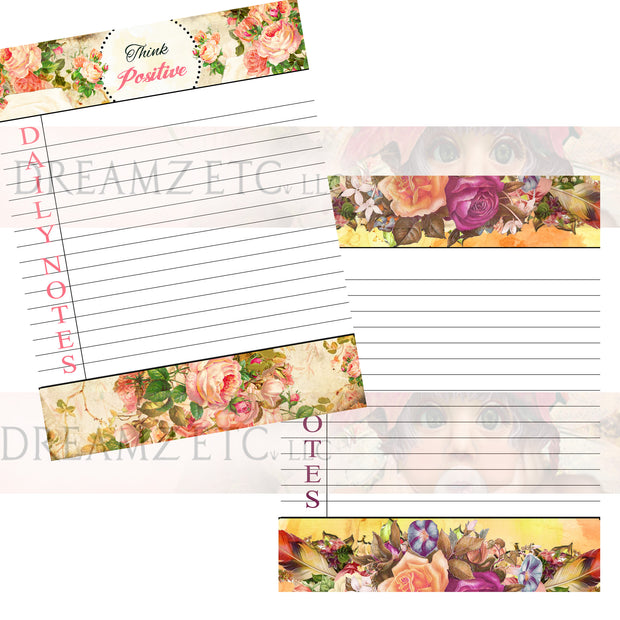 Floral Dreamz Planner/Journal - Daily Notes Lined Paper - Printable