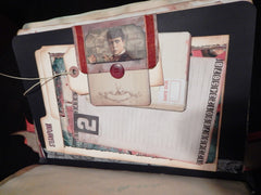 Hand-Stitched Canvas & Embroidery - Vintage Sherlock Travel Theme Book/Journal - HUGE!