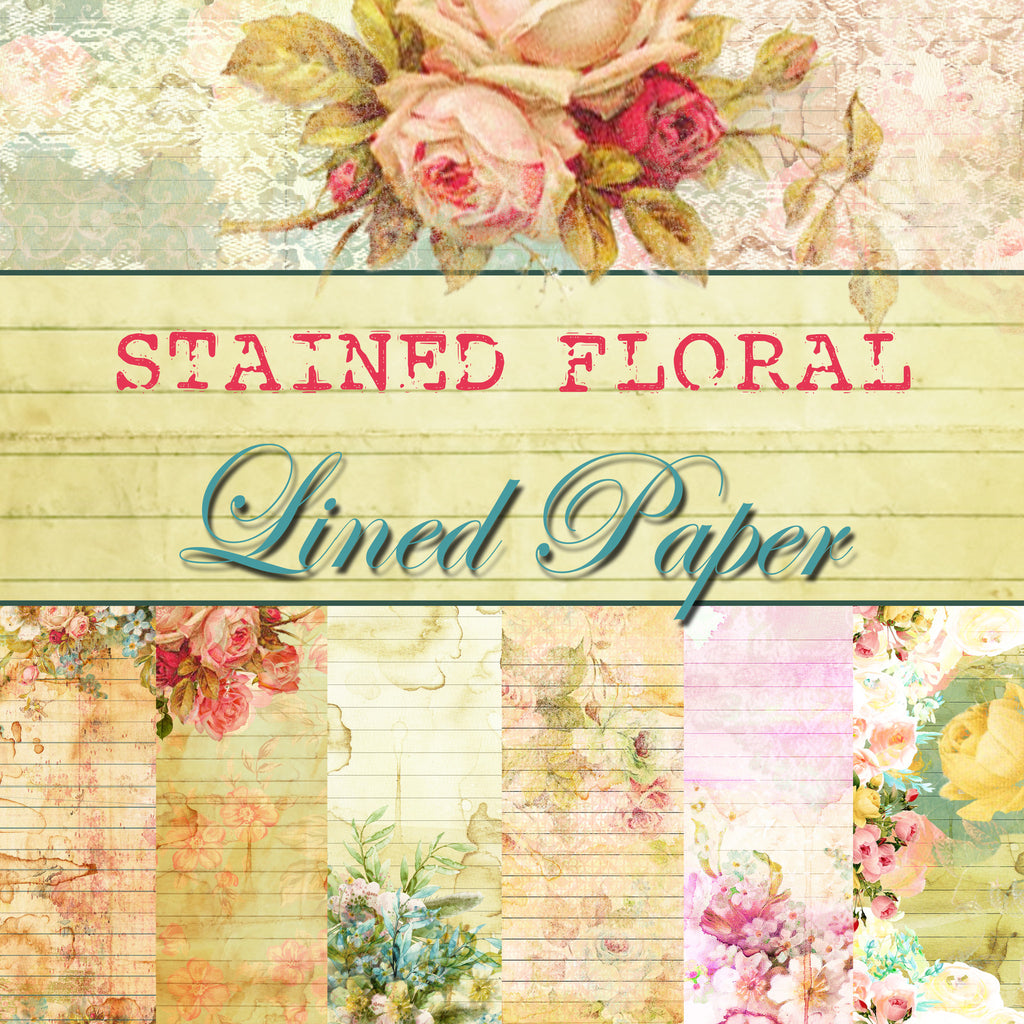 Stained Floral Lined Journal Paper Pack- Digital - 10 Designs