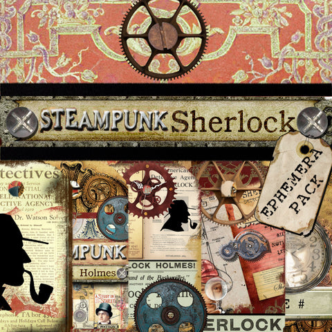 Steampunk Sherlock Digital Paper Ephemera Pack