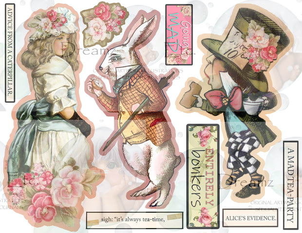 Tea Time Collage - Digital Journal Kit - Bundle Pack