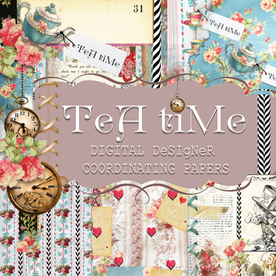 Tea Time Collage - Digital Journal Kit - Designer Background Papers