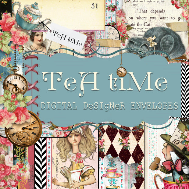 Tea Time Collage - Digital Journal Kit - Envelopes