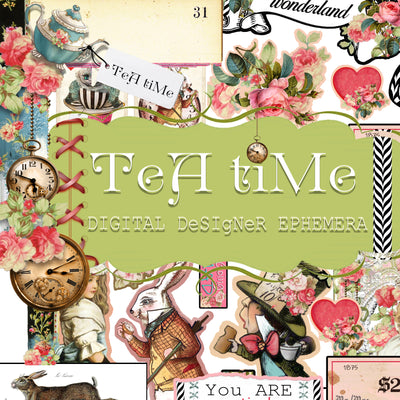 Tea Time Collage - Digital Journal Kit - Ephemera & Journal Cards