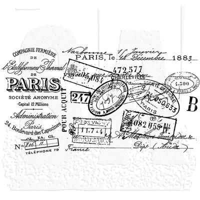 Tim Holtz Wood Mounted Stamp: Paris Certificate